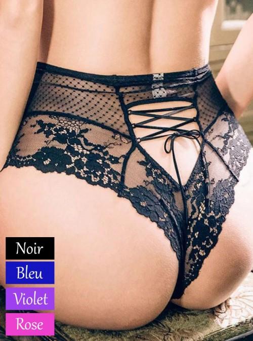 Culotte élégante en dentelle, taille haute et lacets à l'arrière | Baïa