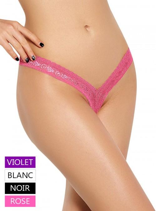 String brésilien coupe échancrée sexy en dentelle