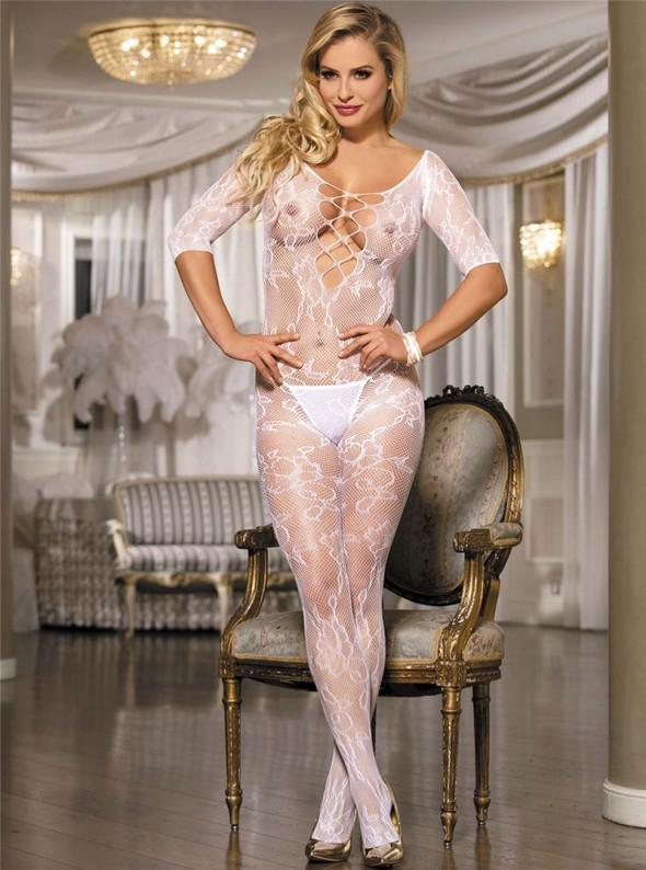 Combinaison sexy blanche en résille   Bianca