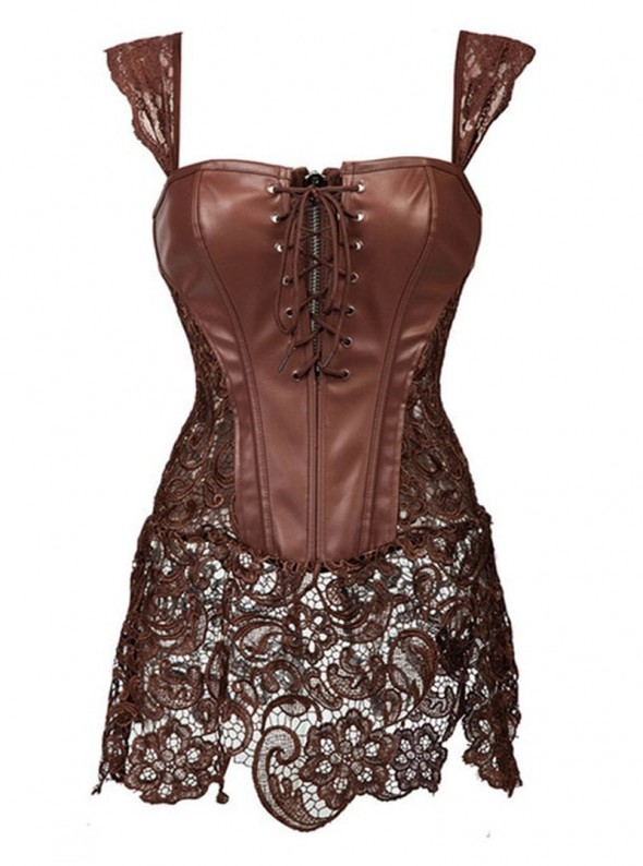 Bustier long en cuir marron / brun et jupe dentelle | Diamond