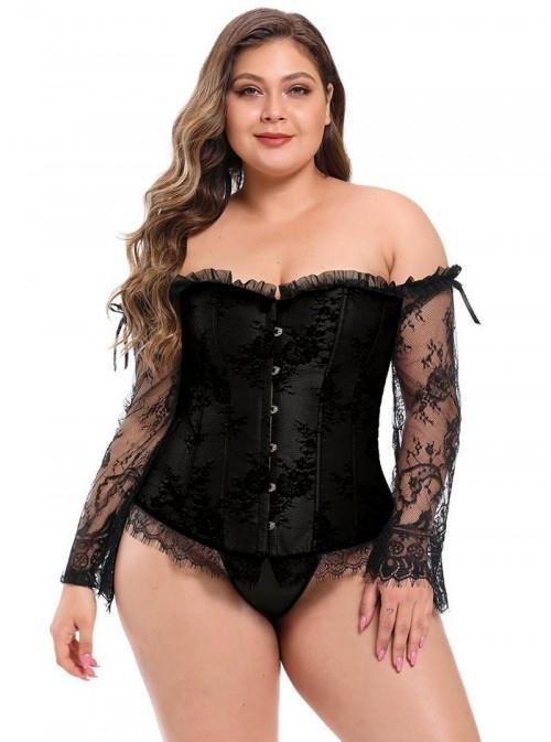 Corset gothique noir avec manches longues dentelle | Kathlyn