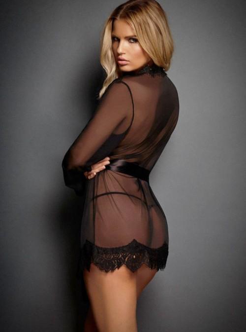 Déshabillé noir mousseline transparente et dentelle | Aurore