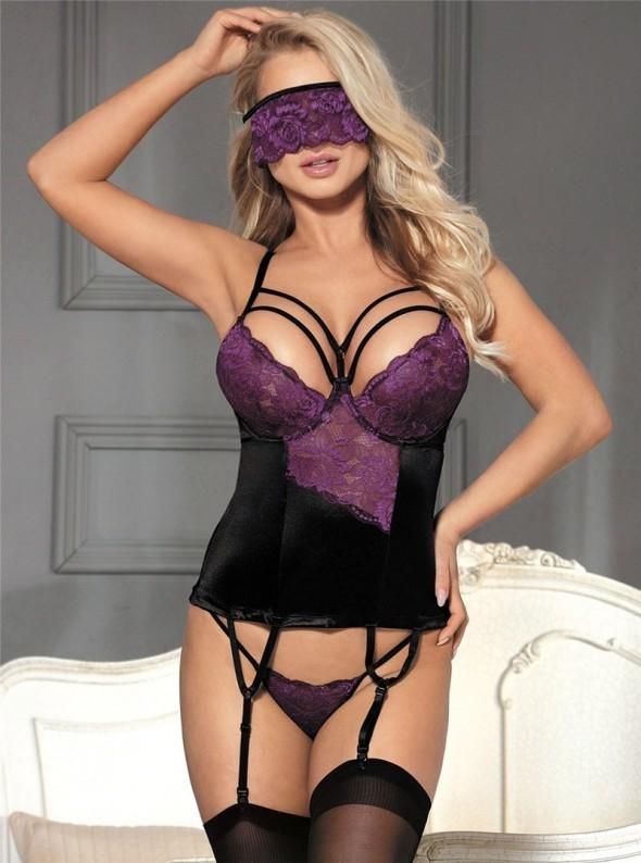 Guêpière sexy à jarretelles noire et violette + bandeau yeux   Malorie