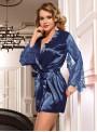 Peignoir bleu en satin avec manches en dentelle | Lorna