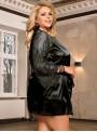 Peignoir noir satiné et manches longues en dentelle | Lorna