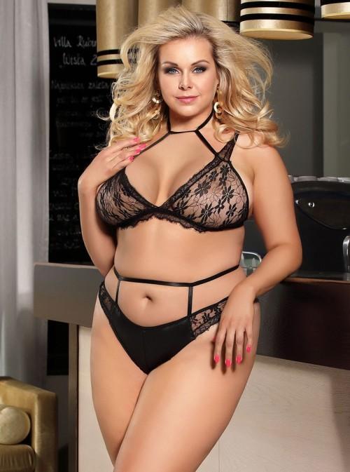 Ensemble sexy cuir lamé et dentelle noire top ouvert et culotte | Jillian