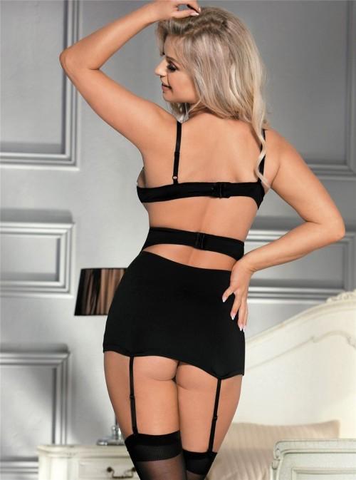Ensemble lingerie noir et blanc soutien gorge + gaine à jarretelles | Amoretta