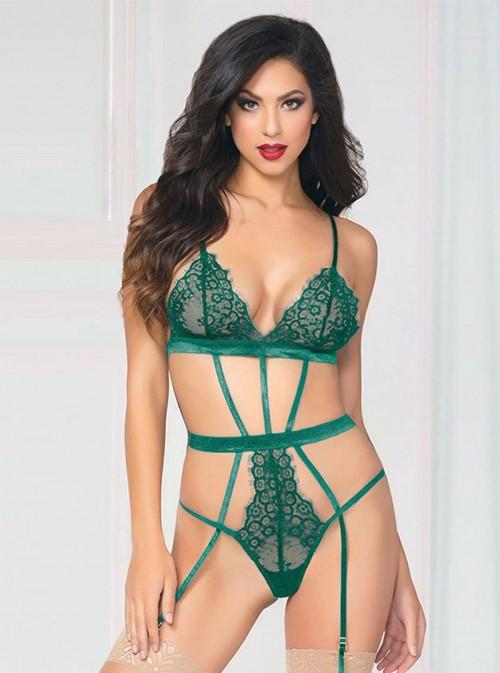 Body ficelles sexy vert émeraude avec jarretelles | Abbey