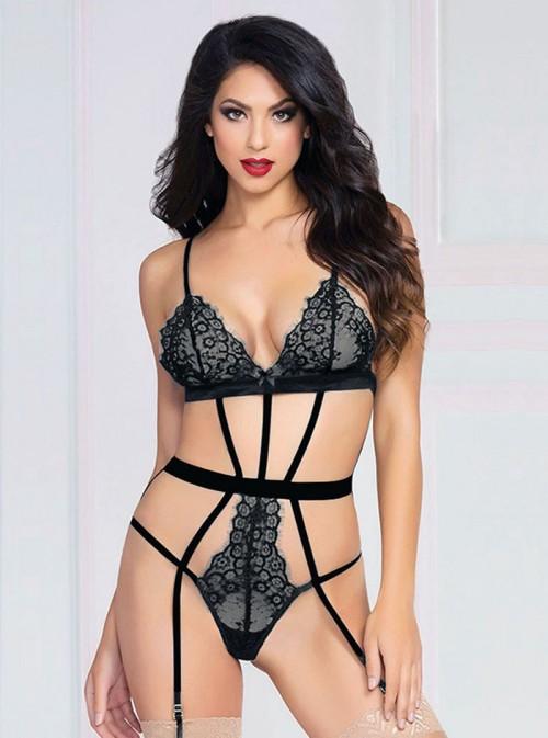 Body ficelles sexy noir avec jarretelles | Dominika