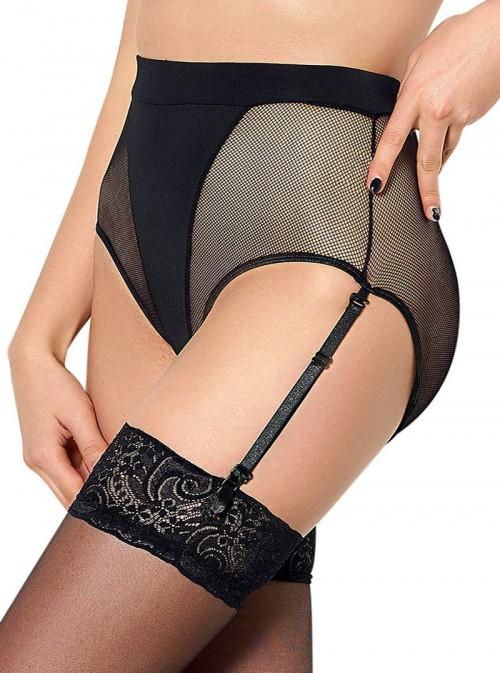 Culotte haute à jarretelles noire Katy
